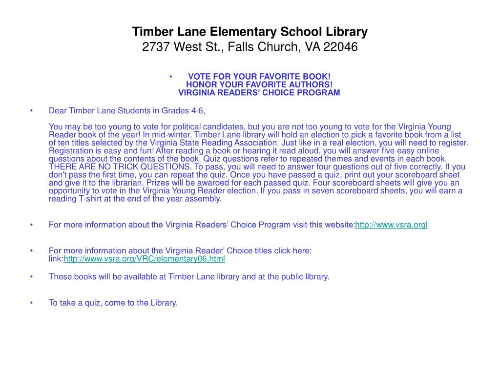 Timber Lane Elementary School Library
