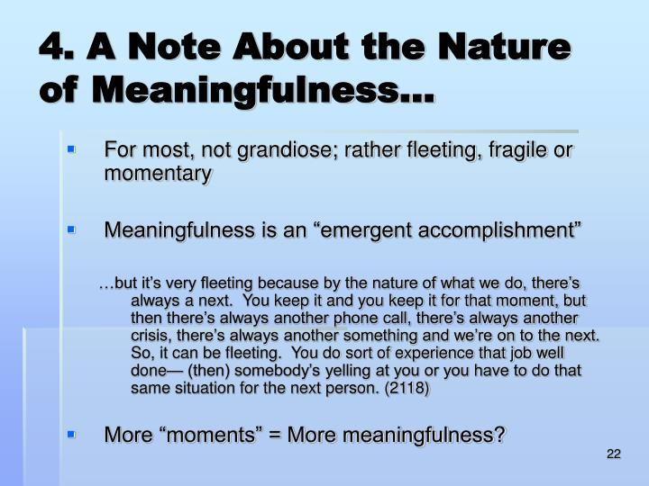4. A Note About the Nature of Meaningfulness…