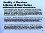 identity of members sense of contribution facilitates clarity focus sense of caring