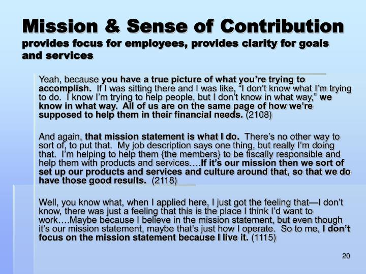 Mission & Sense of Contribution