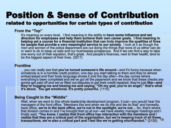 Position & Sense of Contribution