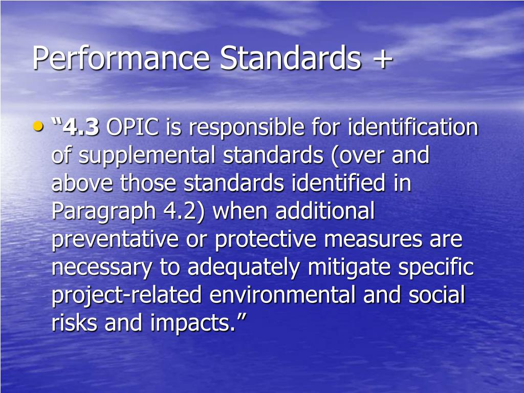 Performance Standards +
