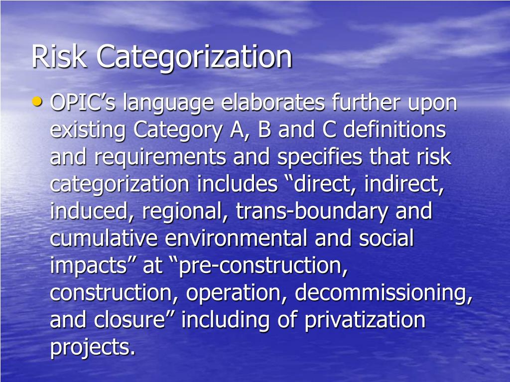 Risk Categorization