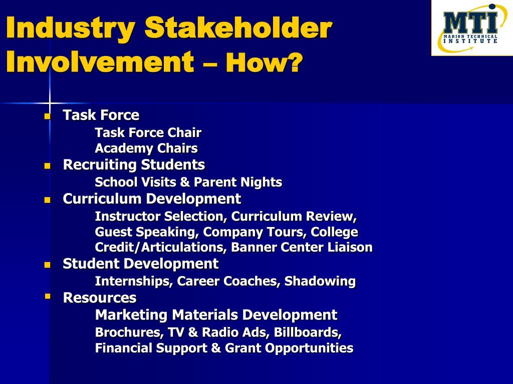Industry Stakeholder Involvement