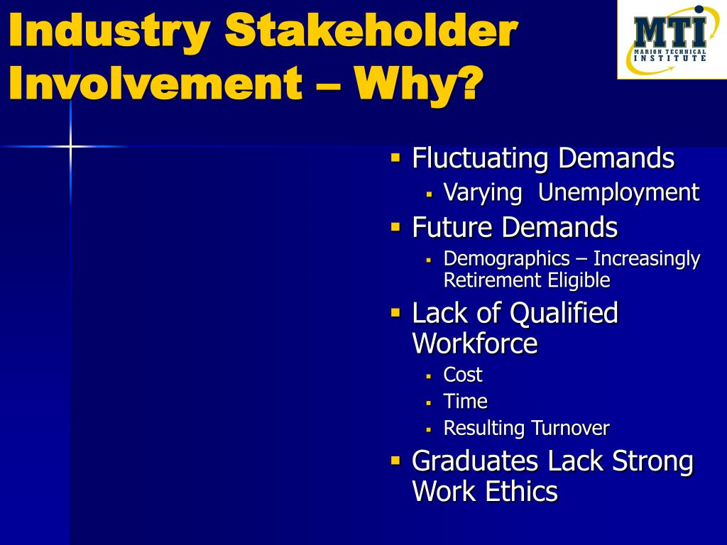Industry Stakeholder Involvement – Why?