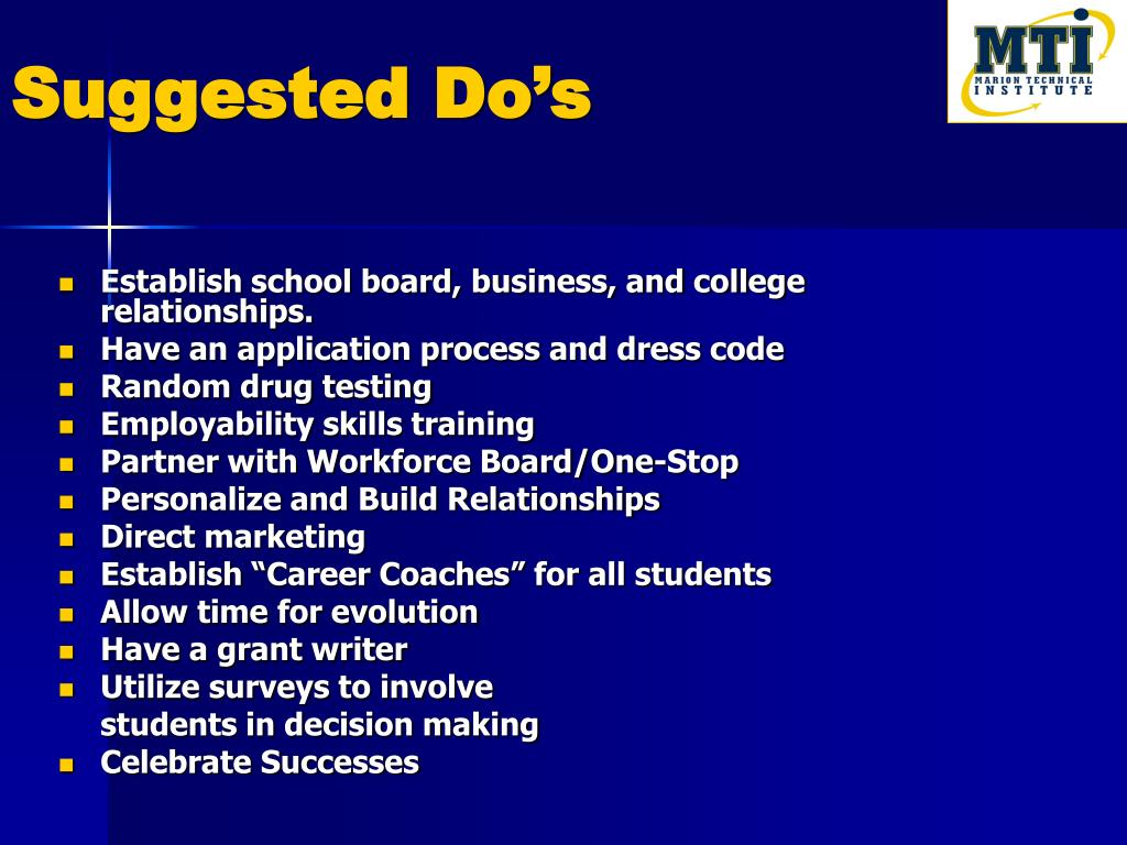 Suggested Do's