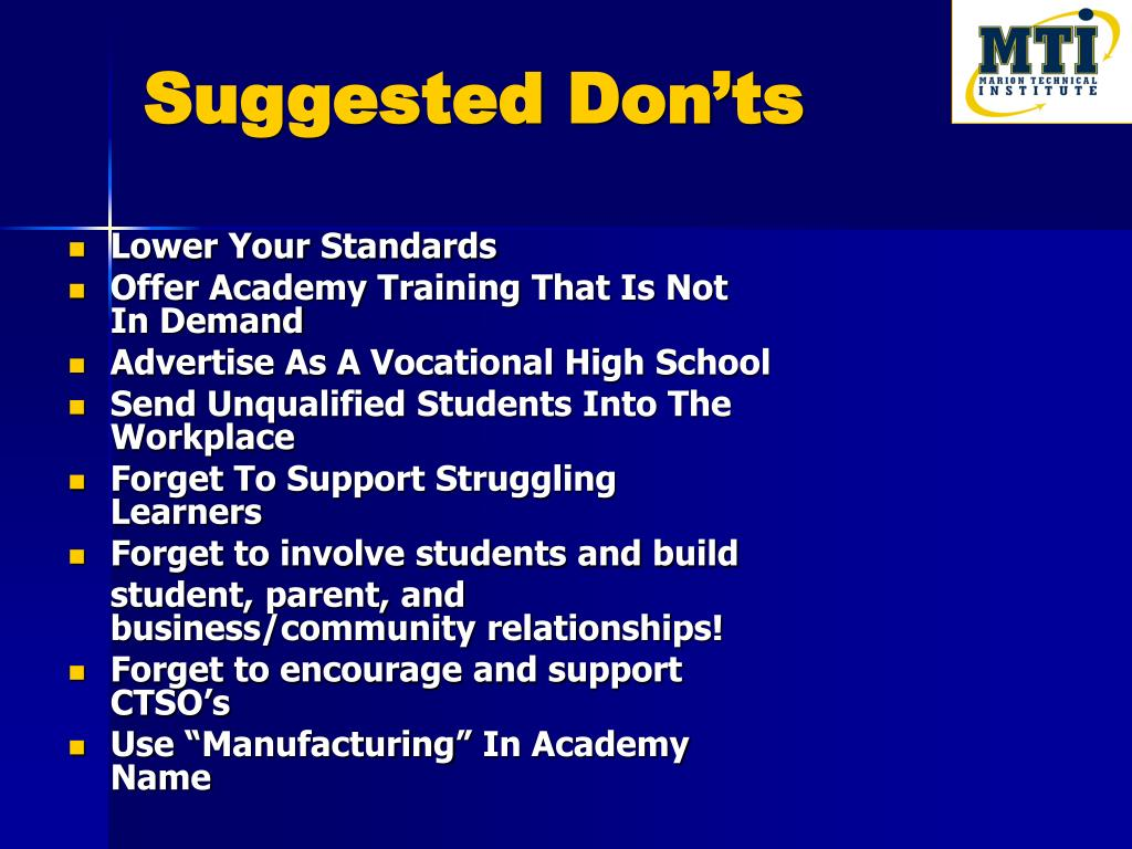 Suggested Don'ts