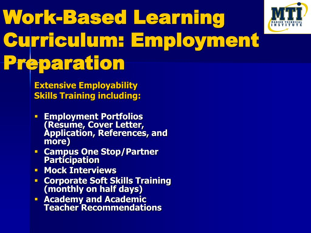 Work-Based Learning Curriculum: Employment Preparation