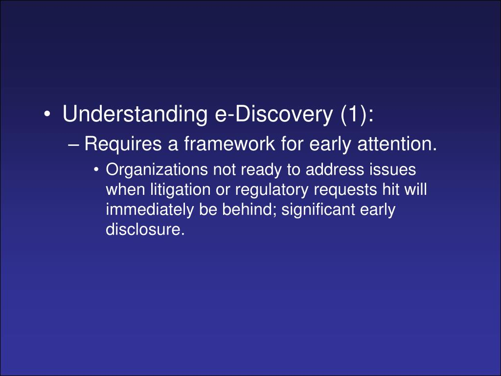 Understanding e-Discovery (1):