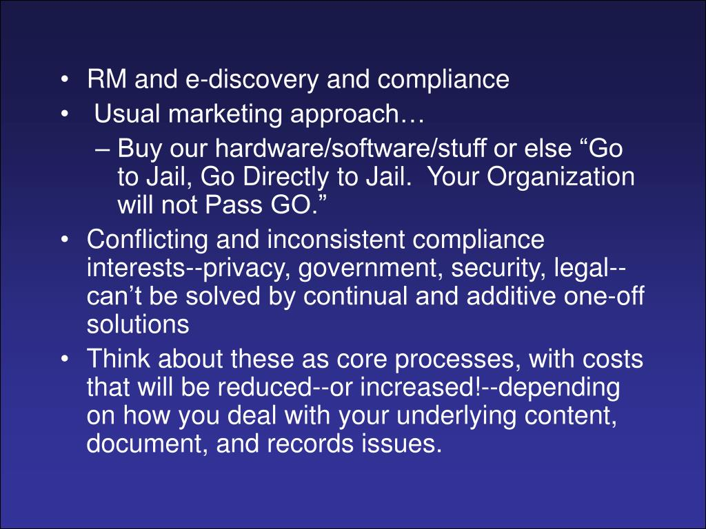 RM and e-discovery and compliance