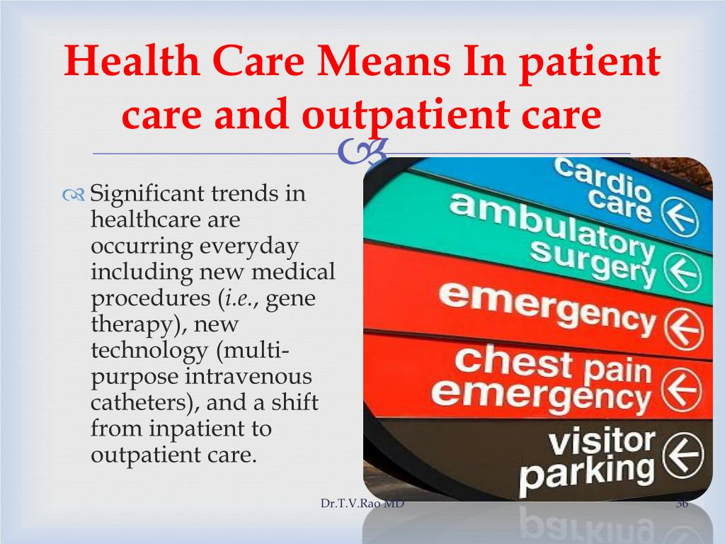 Health Care Means In patient care and outpatient care