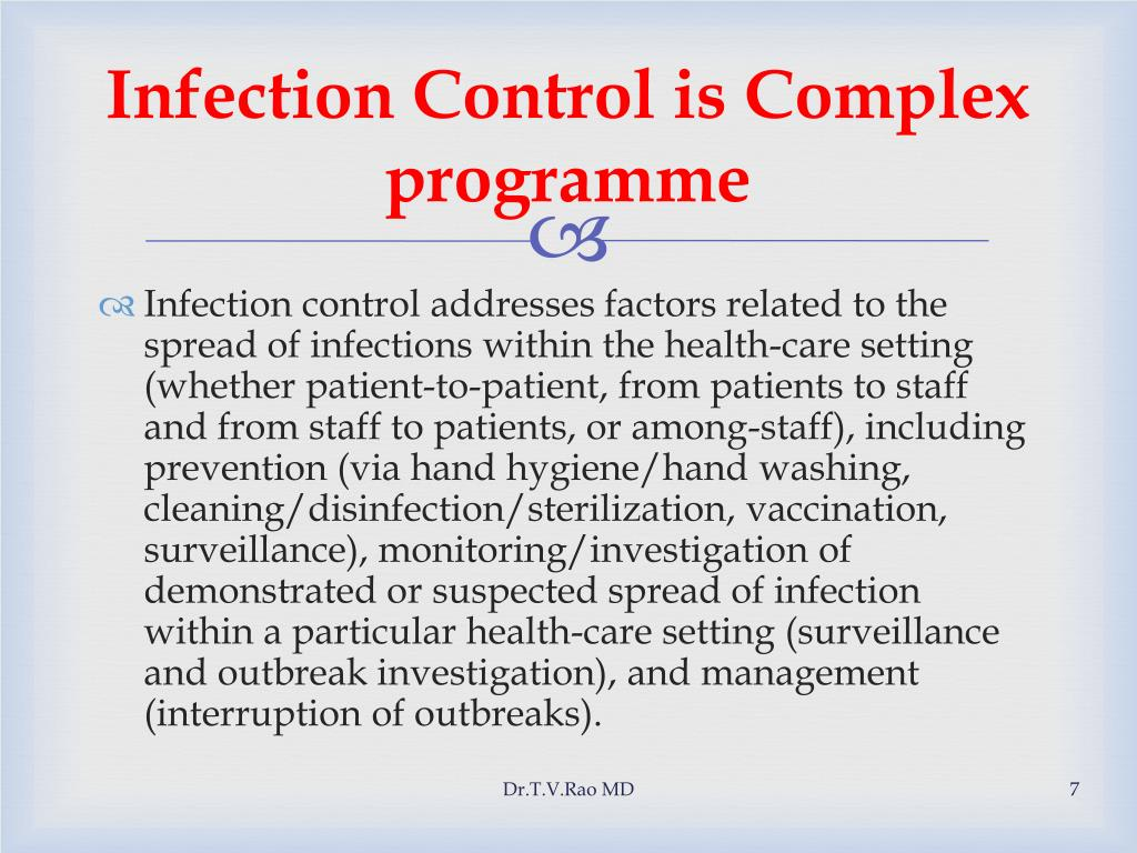Infection Control is Complex programme