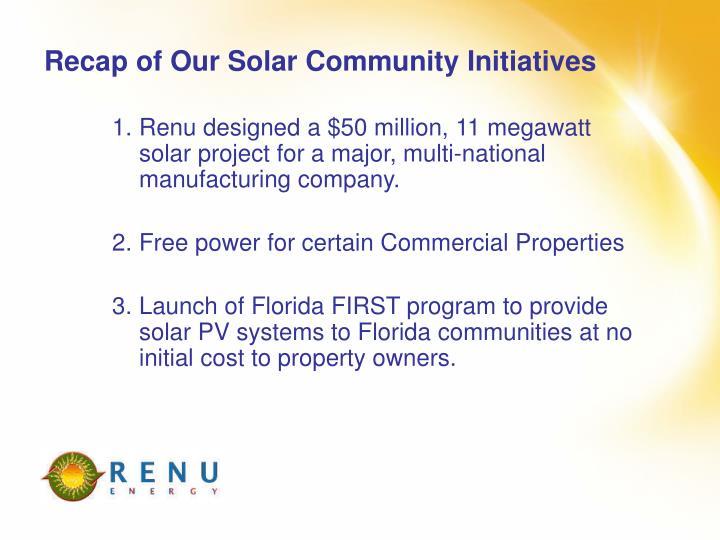 Recap of Our Solar Community Initiatives