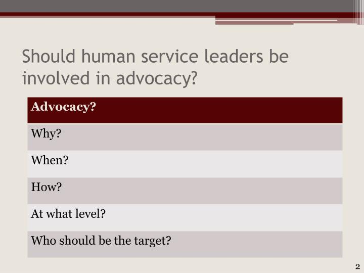Should human service leaders be involved in advocacy
