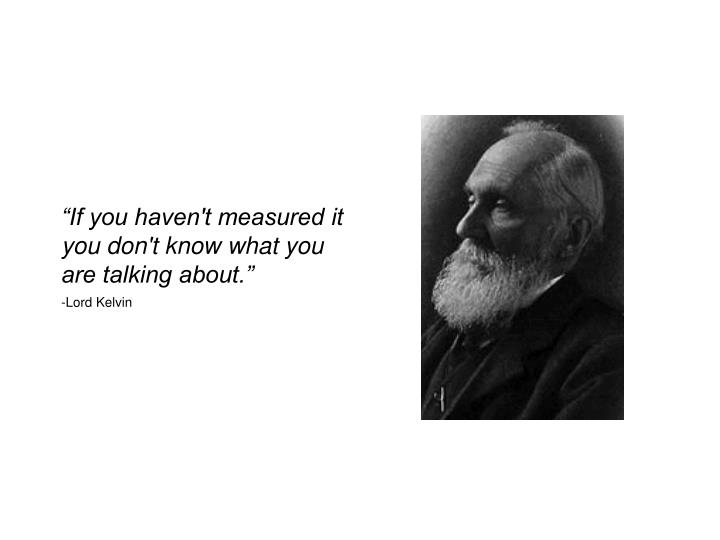 """If you haven't measured it you don't know what you are talking about."""