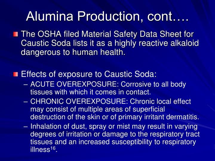 Alumina Production, cont….