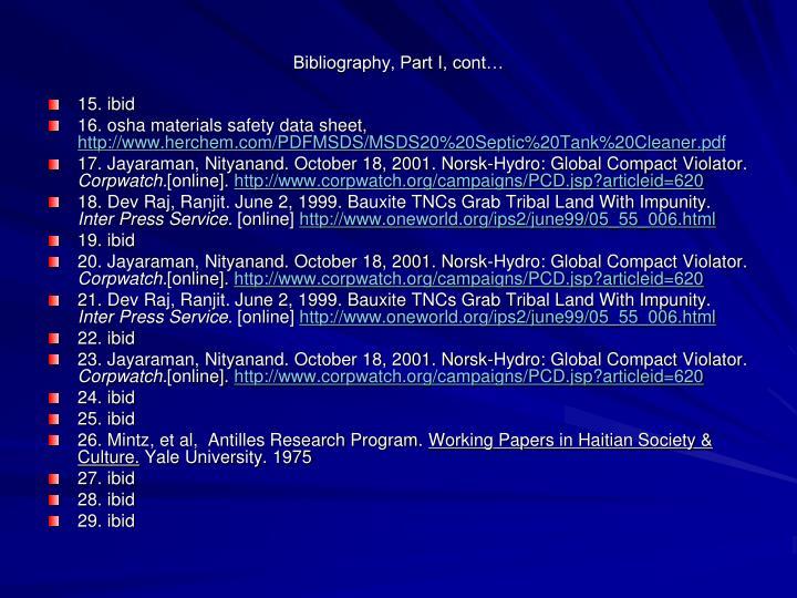 Bibliography, Part I, cont…