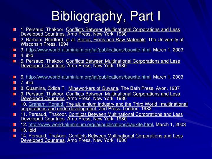Bibliography, Part I