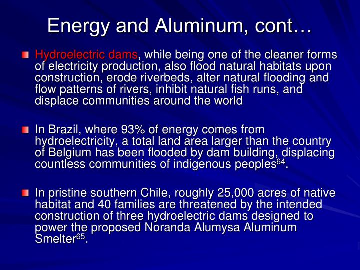 Energy and Aluminum, cont…