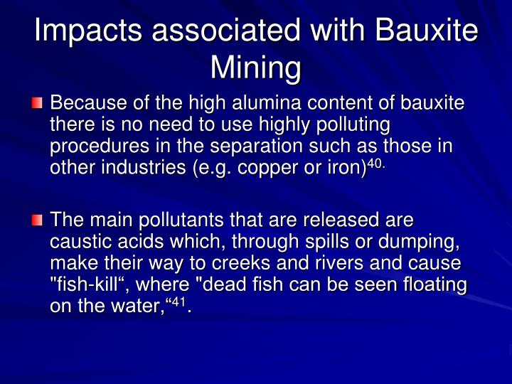 Impacts associated with Bauxite Mining
