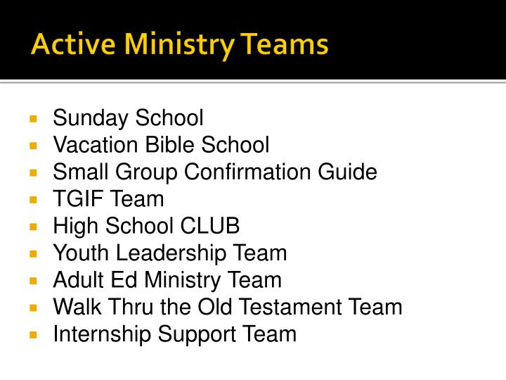 Active Ministry Teams