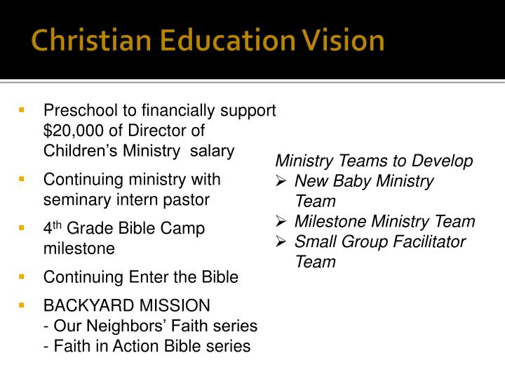 Christian Education Vision
