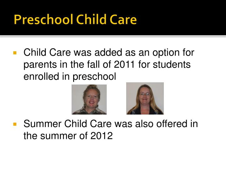 Preschool Child Care