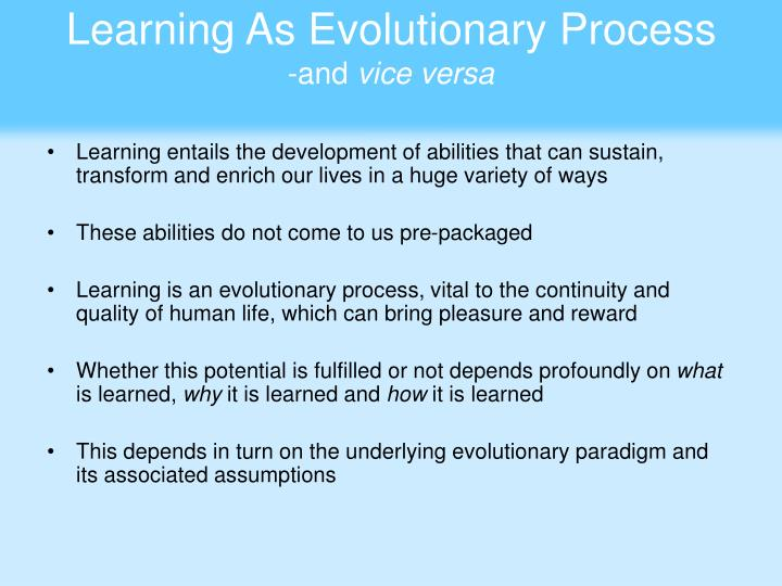 Learning As Evolutionary Process