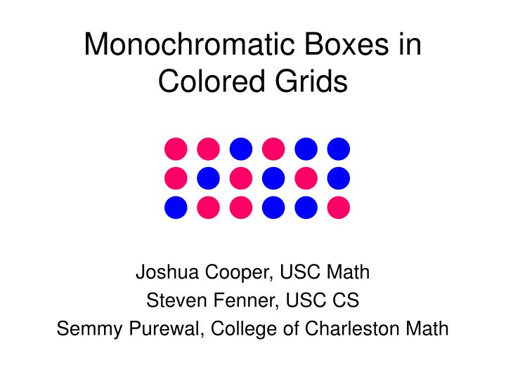 Monochromatic boxes in colored grids