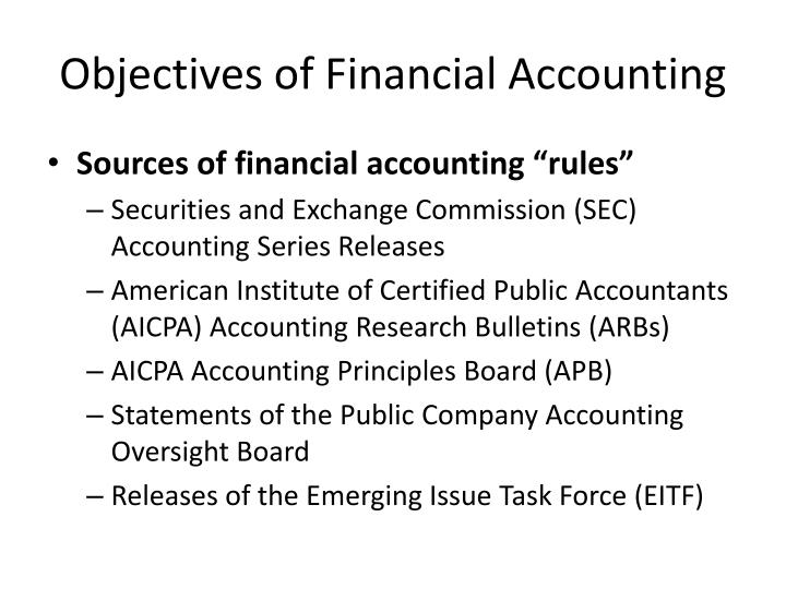 objective of financial accounting Financial accounting : meaning, nature and role of accounting structure 10 objective the main purpose of accounting is to ascertain profit or loss during interprets financial information about the activities of a concern so that intelligent.