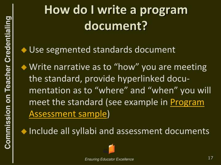 How do I write a program document?