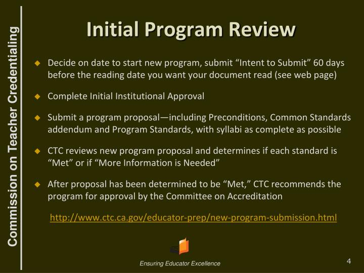 Initial Program Review