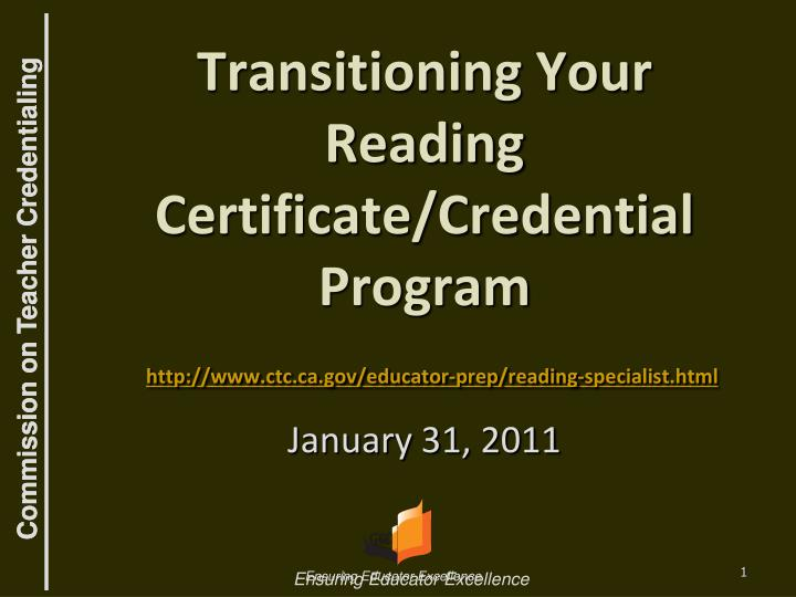 Transitioning Your Reading Certificate/Credential Program