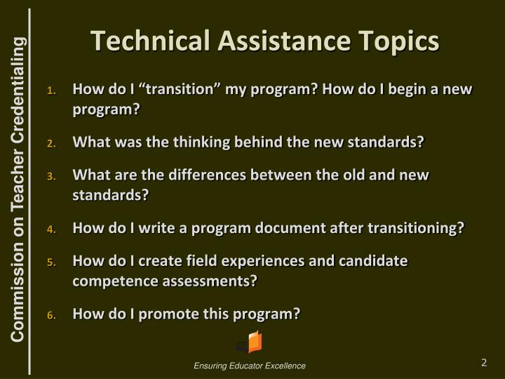 Technical assistance topics