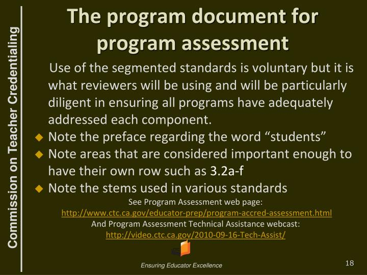 The program document for program assessment