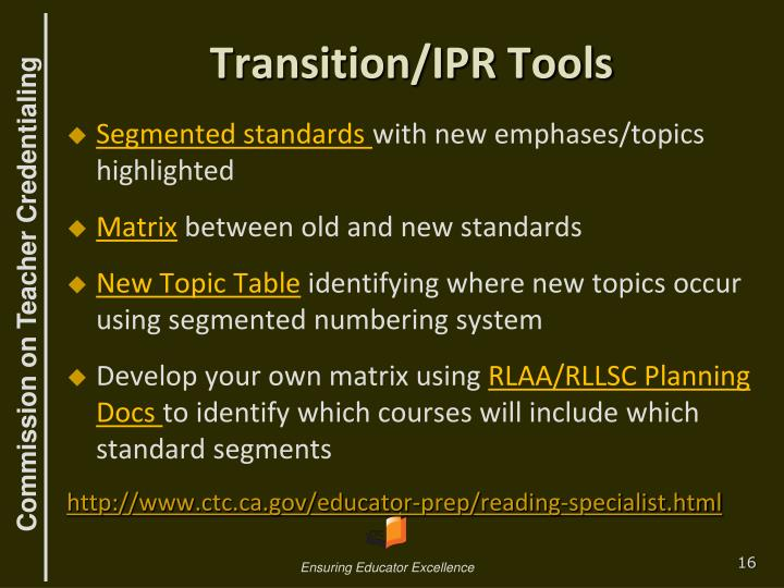 Transition/IPR Tools