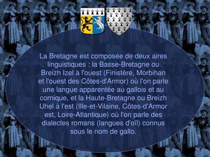 La Bretagne est composée de deux aires linguistiques : la Basse-Bretagne ou Breizh Izel à l'ouest (Finistère, Morbihan et l'ouest des Côtes-d'Armor) où l'on parle une langue apparentée au gallois et au cornique, et la Haute-Bretagne ou Breizh Uhel à l'est (Ille-et-Vilaine, Côtes-d'Armor est, Loire-Atlantique) où l'on parle des dialectes romans (langues d'oïl) connus sous le nom de gallo.