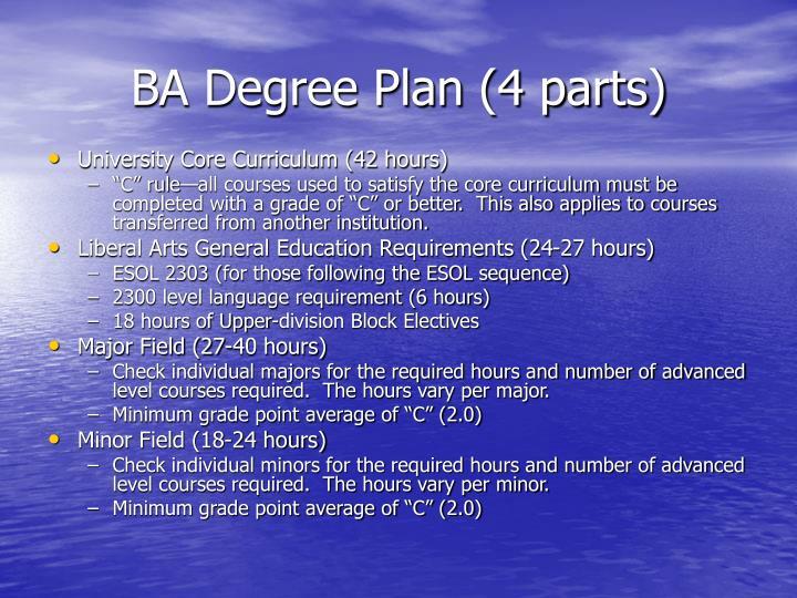 BA Degree Plan (4 parts)