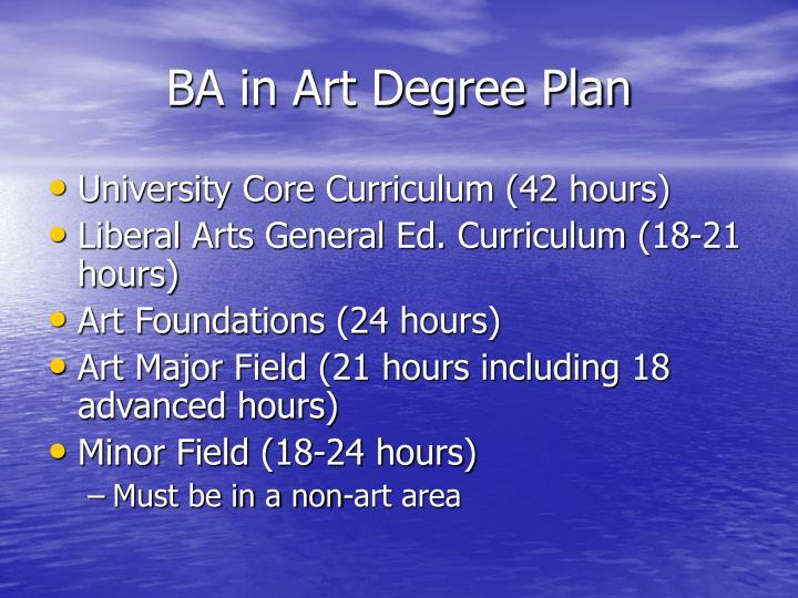 BA in Art Degree Plan