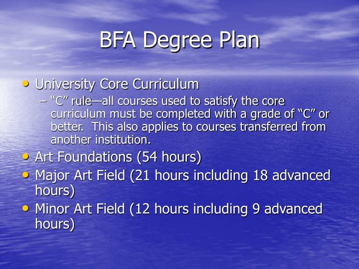 BFA Degree Plan