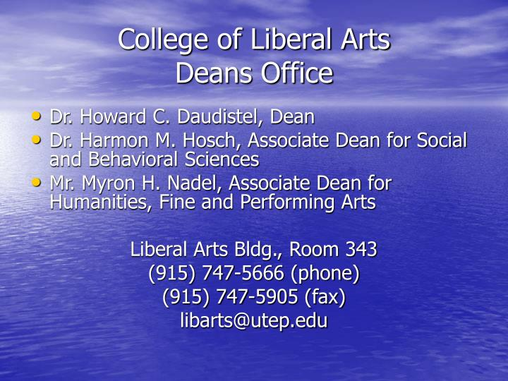 College of liberal arts deans office