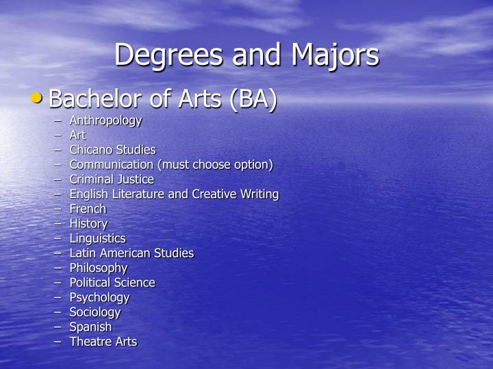 Degrees and Majors