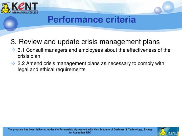 Performance criteria