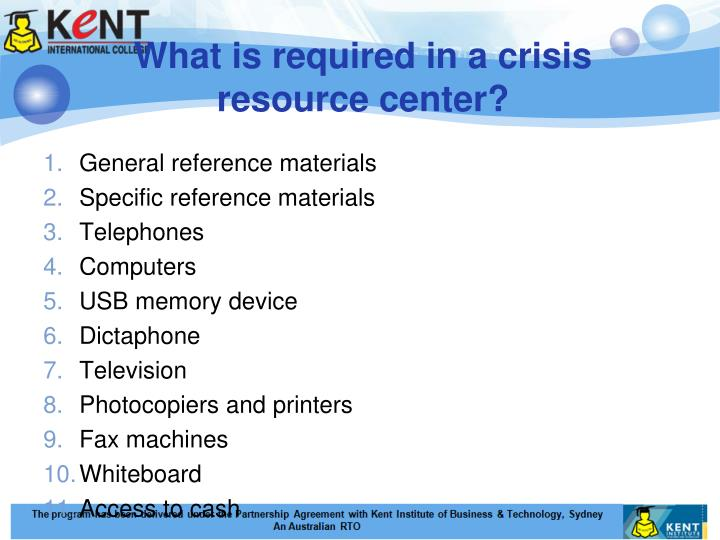 What is required in a crisis resource center?