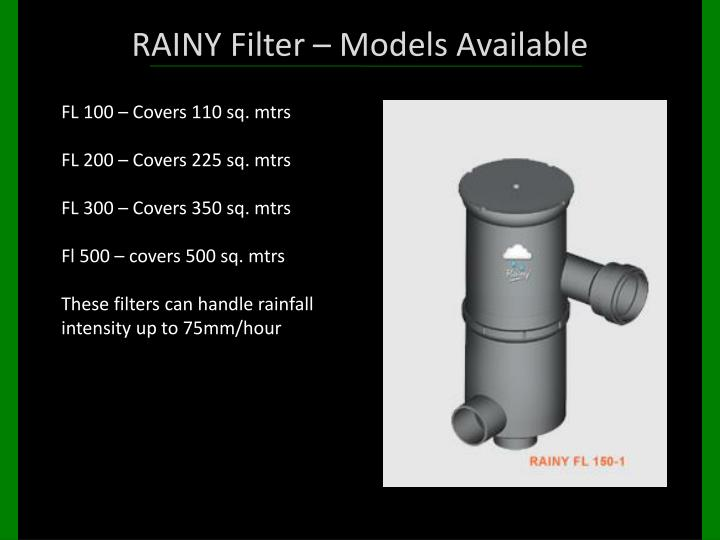 RAINY Filter – Models Available