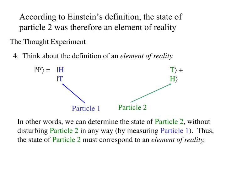 According to Einstein's definition, the state of particle 2 was therefore an element of reality