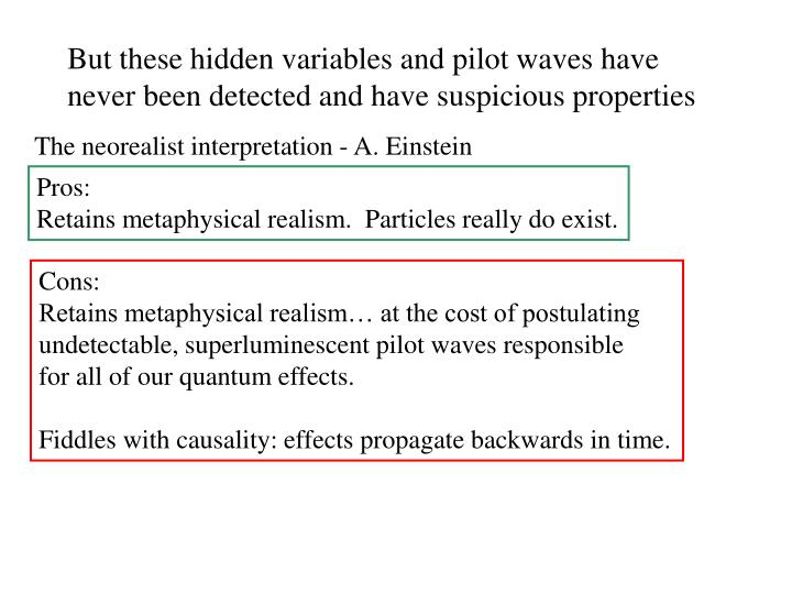 But these hidden variables and pilot waves have never been detected and have suspicious properties
