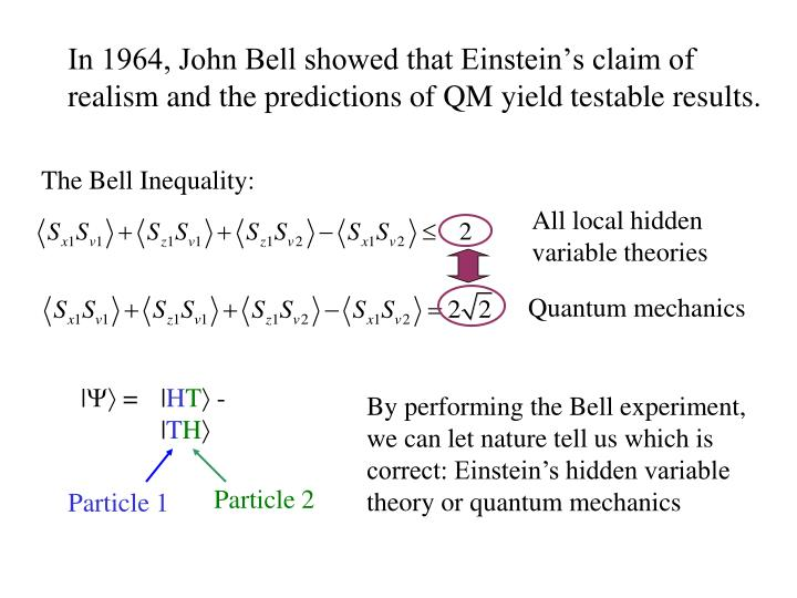 In 1964, John Bell showed that Einstein's claim of realism and the predictions of QM yield testable results.