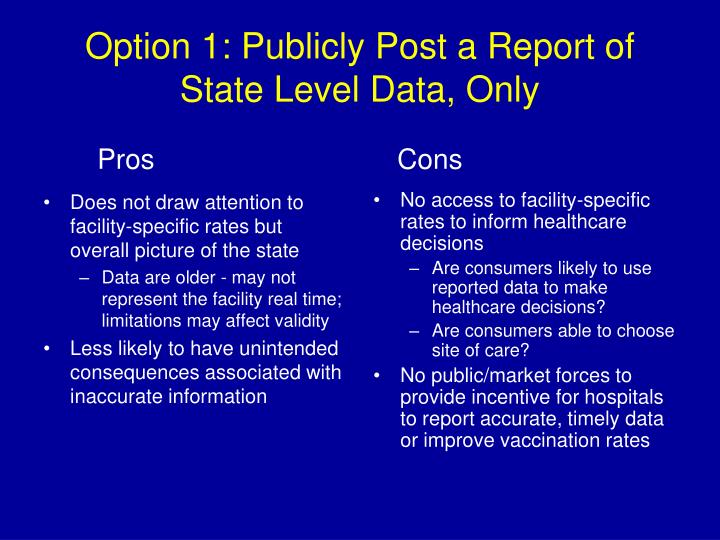 Does not draw attention to facility-specific rates but overall picture of the state