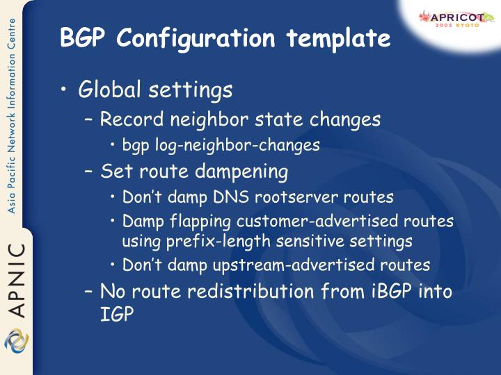 BGP Configuration template